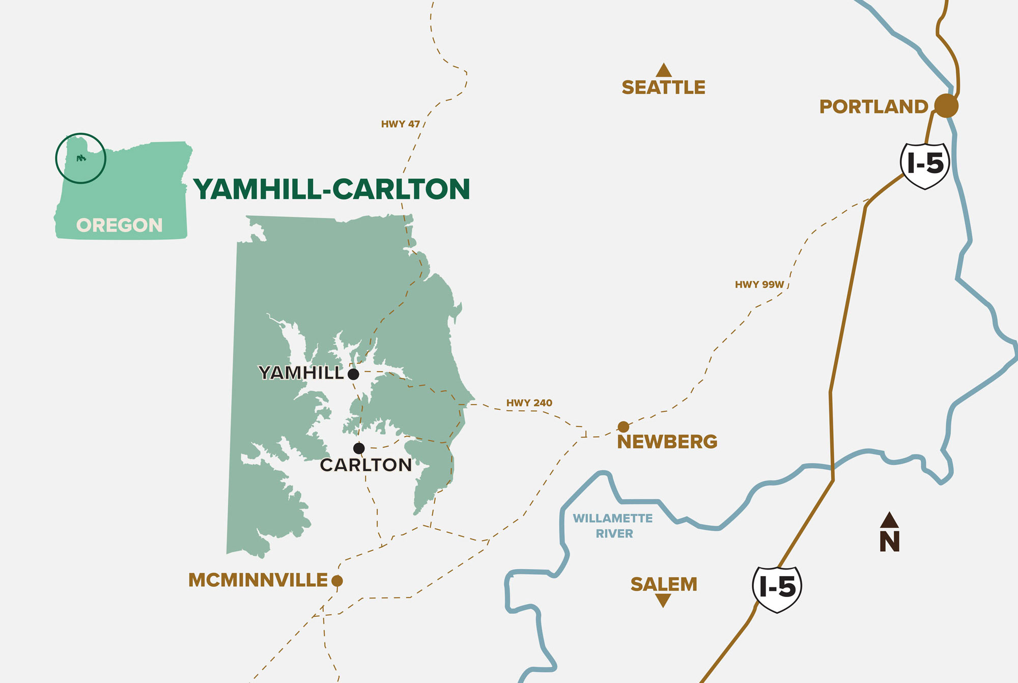 Yamhill-Carlton AVA Map Oregon